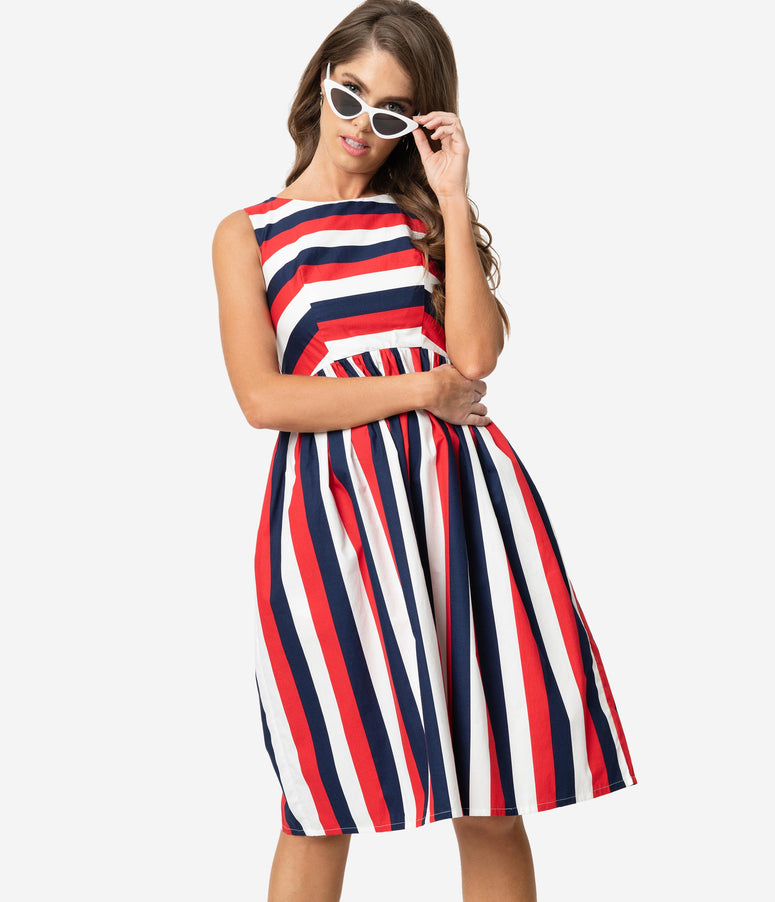 7da2a966d768 Retro Style Red White & Navy Blue Stripe Sleeveless Candice Swing Dress