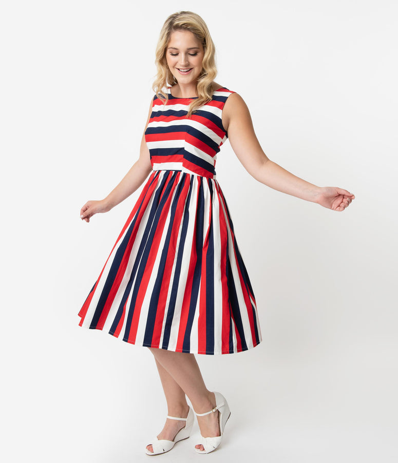 3cd5ab8b27b Plus Size Retro Style Red White   Navy Blue Stripe Sleeveless Candice Swing  Dress