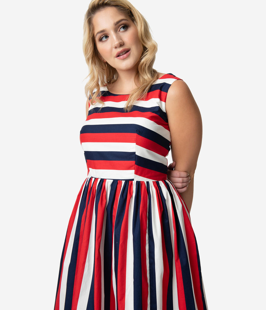 Plus Size Retro Style Red White & Navy Blue Stripe Sleeveless Candice Swing Dress