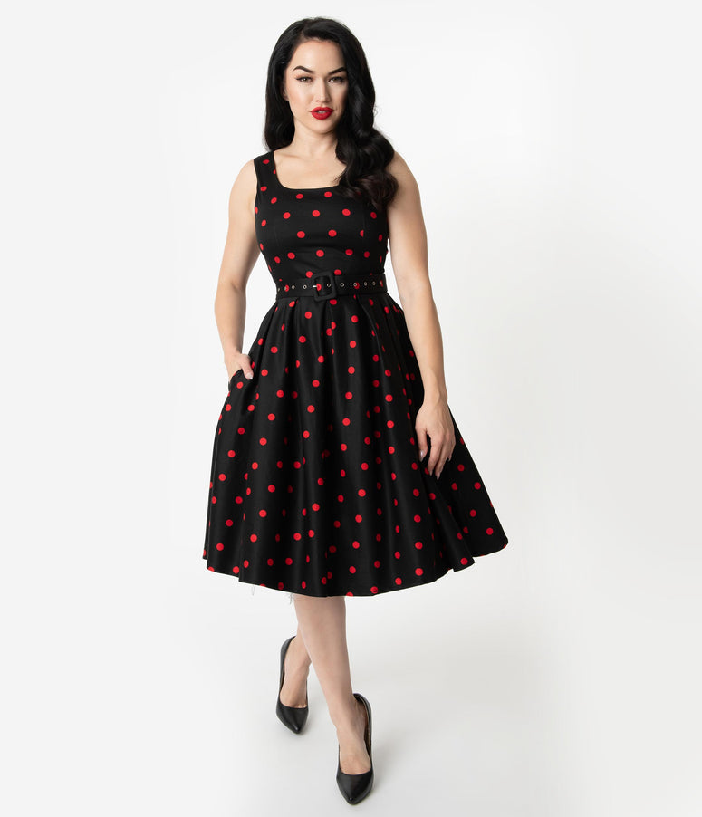 6a3b42c9d1f 1950s Style Black   Red Polka Dot Sleeveless Amanda Swing Dress
