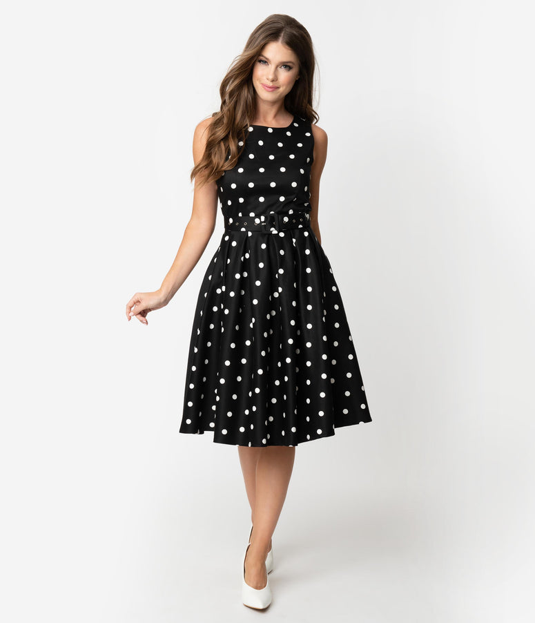 27c7bd6fca7 Vintage Style Black   White Polka Dot Sleeveless Annie Swing Dress