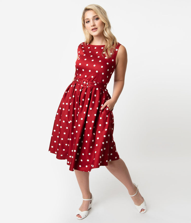 Vintage Style Plus Size Burgundy & White Polka Dot Sleeveless Annie Swing Dress