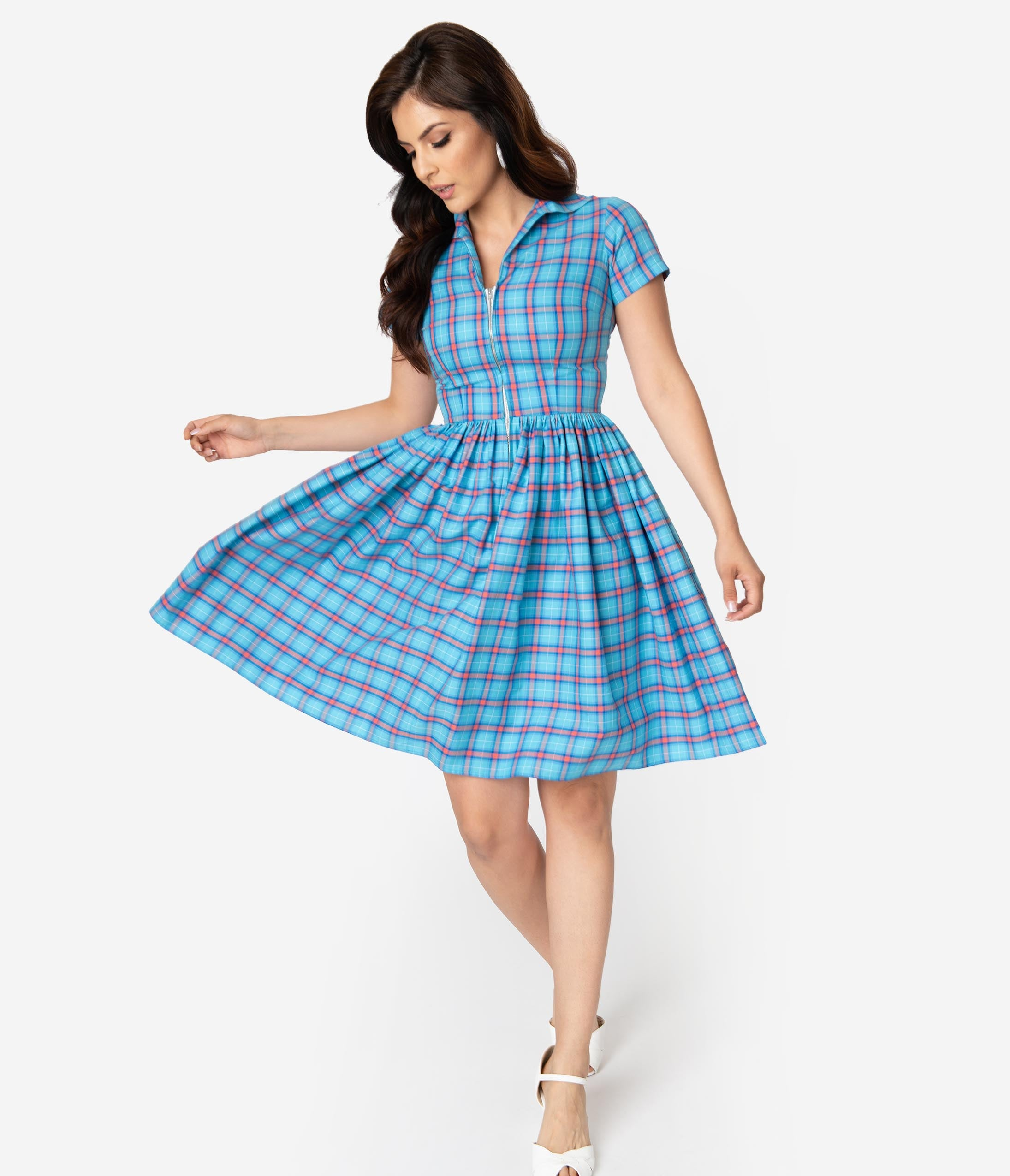 Fifties Dresses : 1950s Style Swing to Wiggle Dresses Bernie Dexter 1950S Style True Blue  Coral Plaid Cotton Short Sleeve Francis Swing Dress $128.00 AT vintagedancer.com