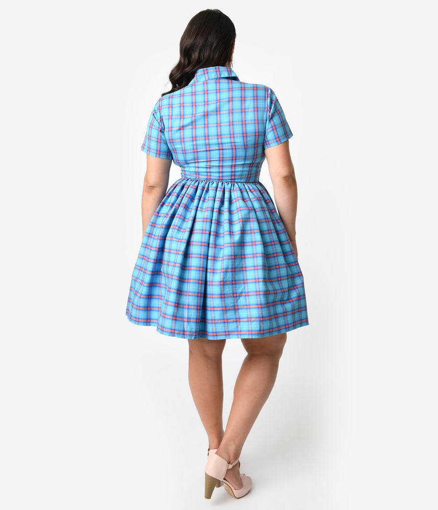 Bernie Dexter Plus Size 1950s Style True Blue & Coral Plaid Cotton Short Sleeve Francis Swing Dress