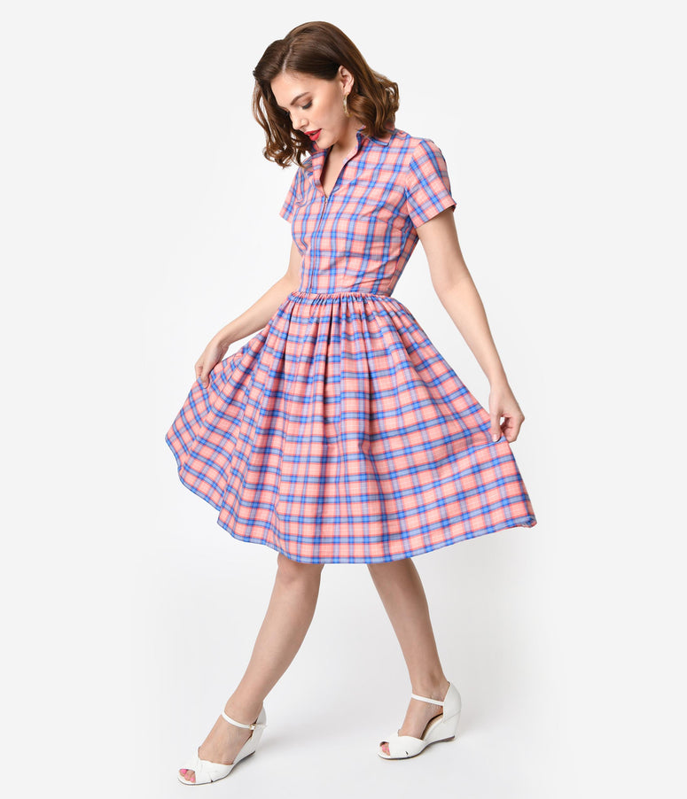 Bernie Dexter 1950s Style Blue & Pink Plaid Cotton Short Sleeve Francis Swing Dress