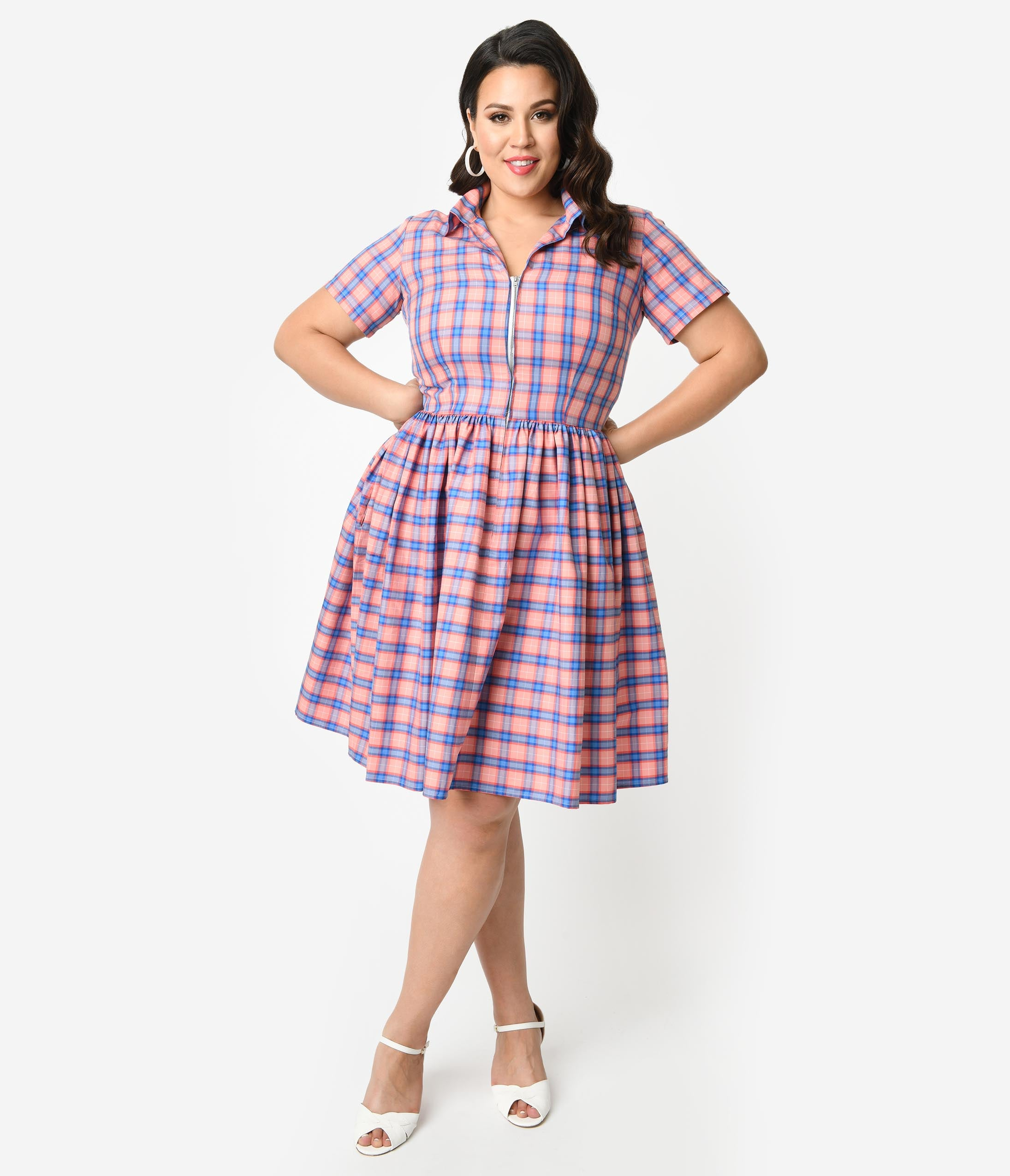 60s 70s Plus Size Dresses, Clothing, Costumes Bernie Dexter Plus Size 1950S Style Blue  Pink Plaid Cotton Short Sleeve Francis Swing Dress $128.00 AT vintagedancer.com