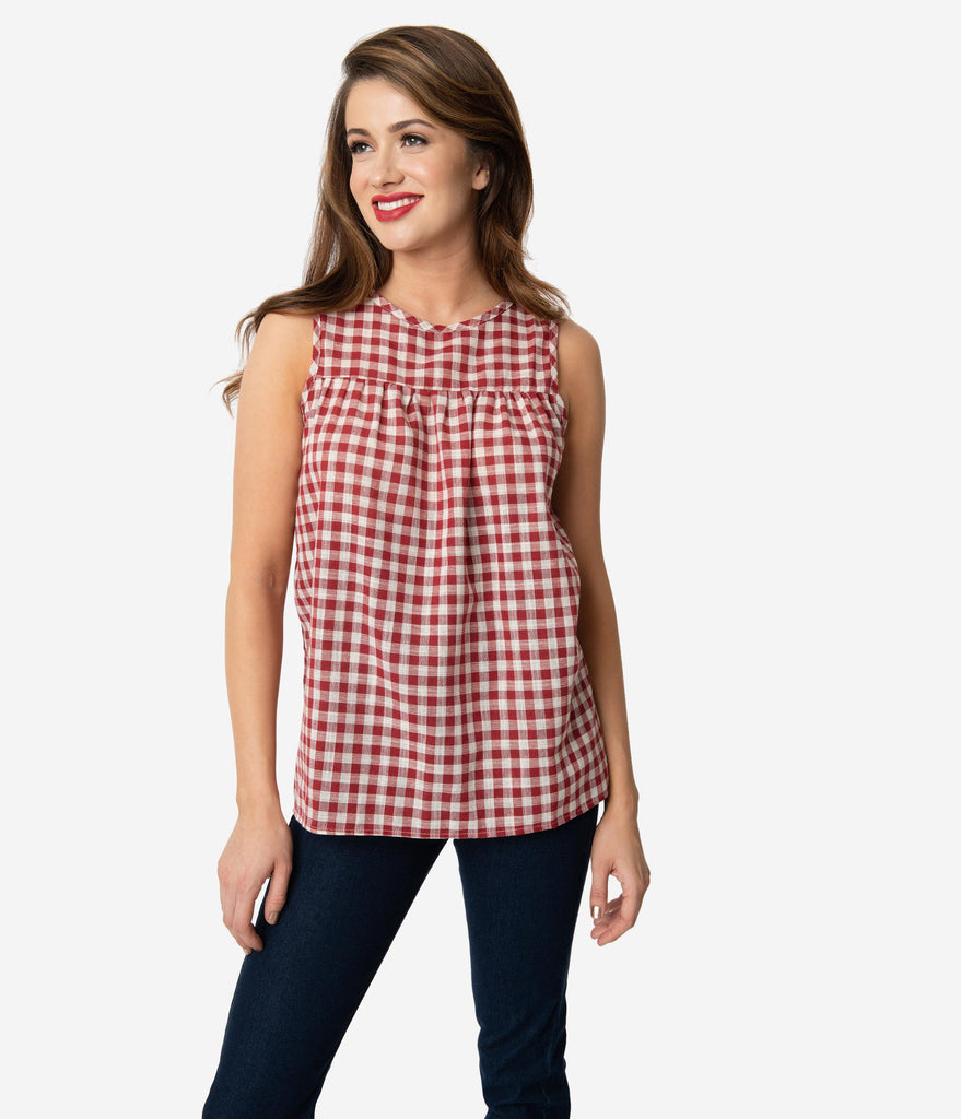 fa78567a Retro Style Cherry Red & Ivory Gingham Woven Sleeveless Blouse – Unique  Vintage