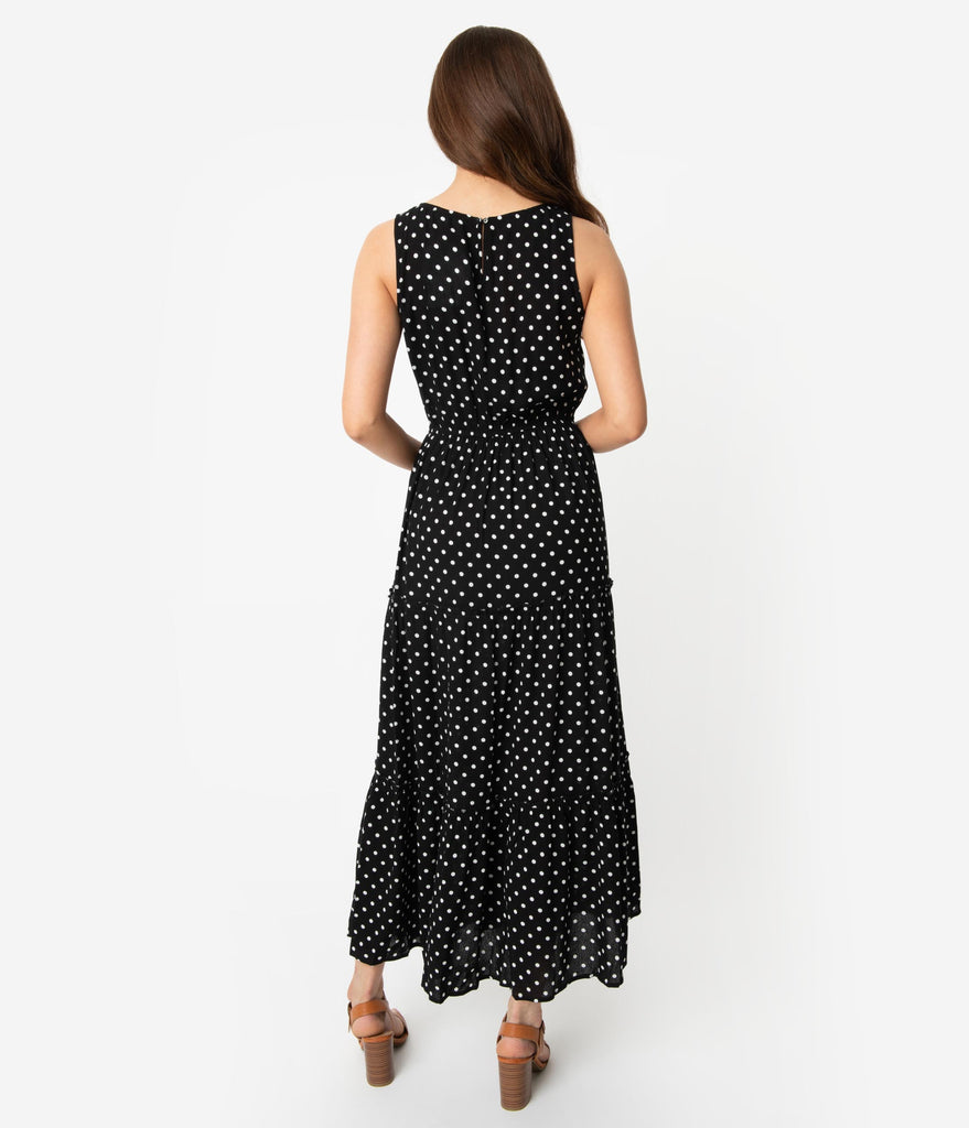 be2be96ee31 Vintage Style Black   White Polka Dot Sleeveless Maxi Dress – Unique ...