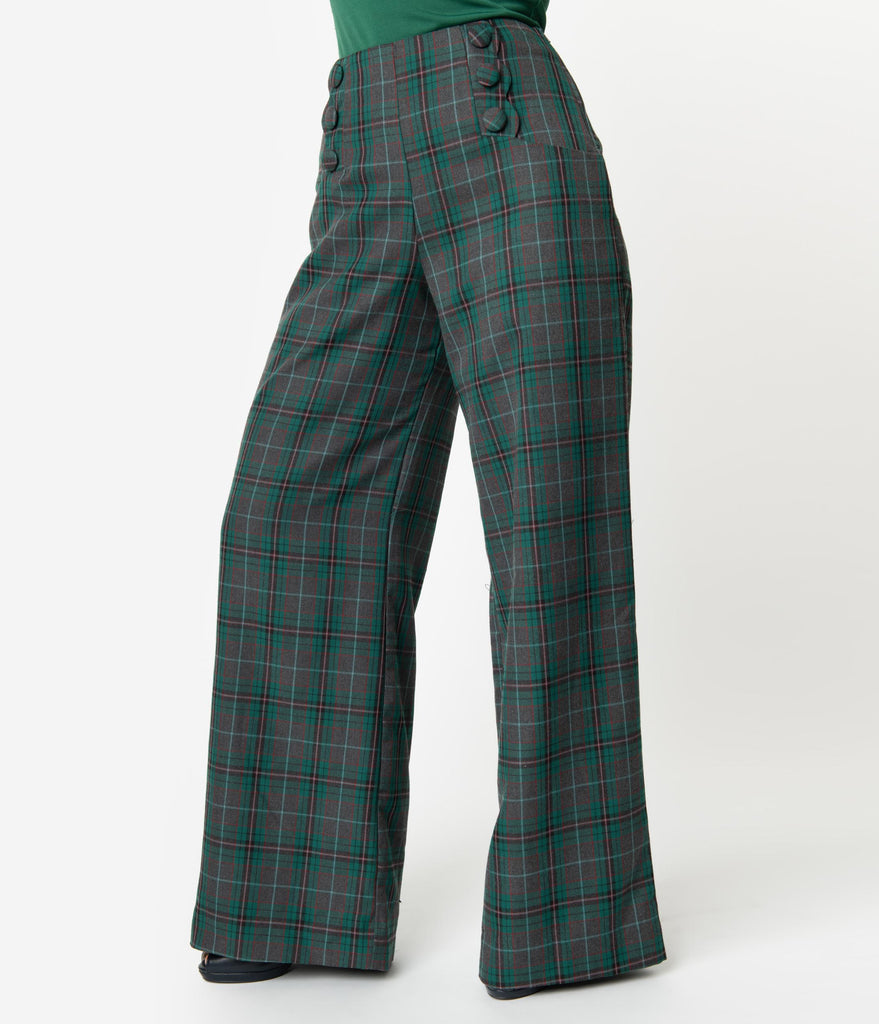 Unique Vintage Emerald Green & Grey Plaid Rogers High Waisted Pants