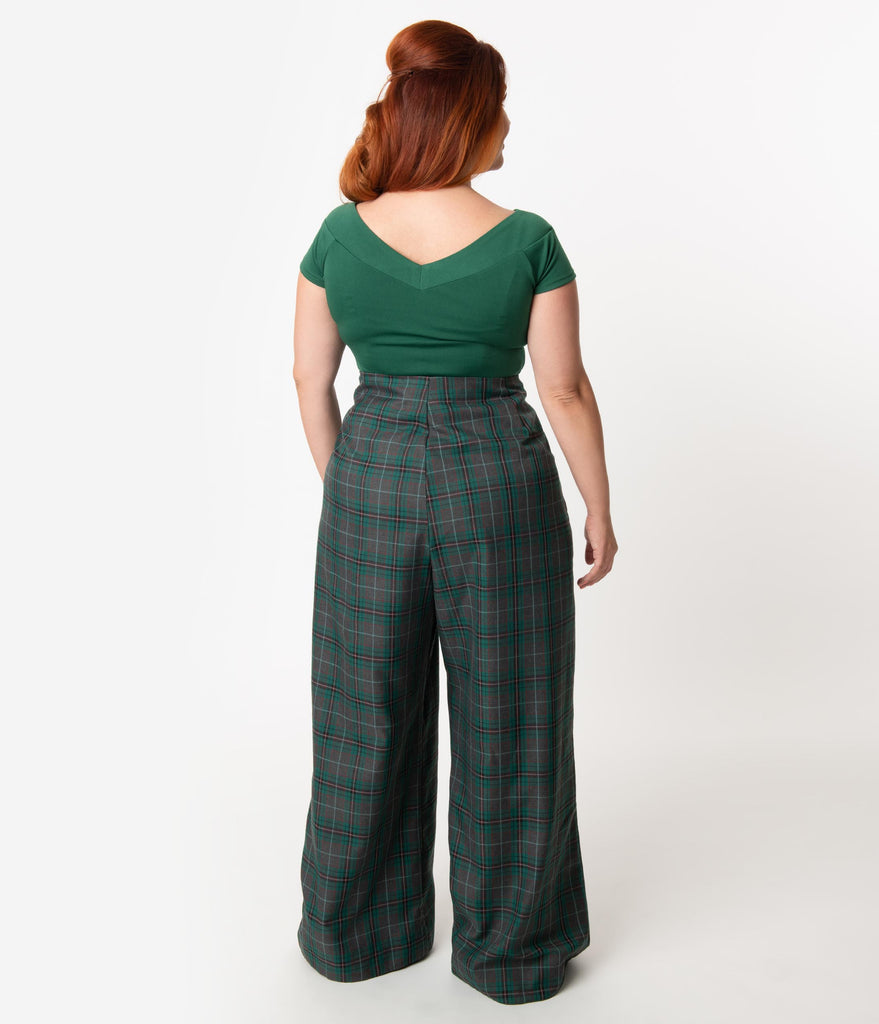 Unique Vintage Plus Size Emerald Green & Grey Plaid Rogers High Waisted Pants