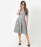 Unique Vintage Grey & Black Cats Graves Swing Dress