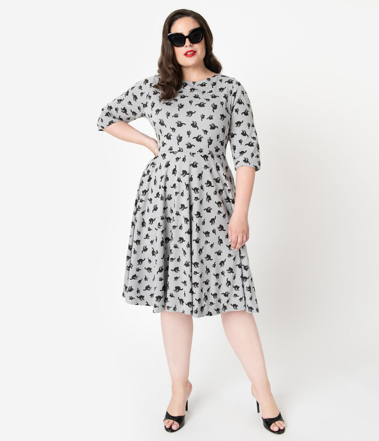 Unique Vintage Plus Size Grey & Black Cats Graves Swing Dress