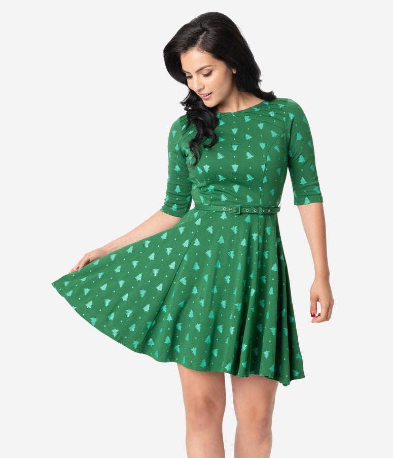 Unique Vintage Green Christmas Tree Print Stephanie Fit & Flare Dress