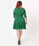 Unique Vintage Plus Size Green Christmas Tree Print Stephanie Fit & Flare Dress