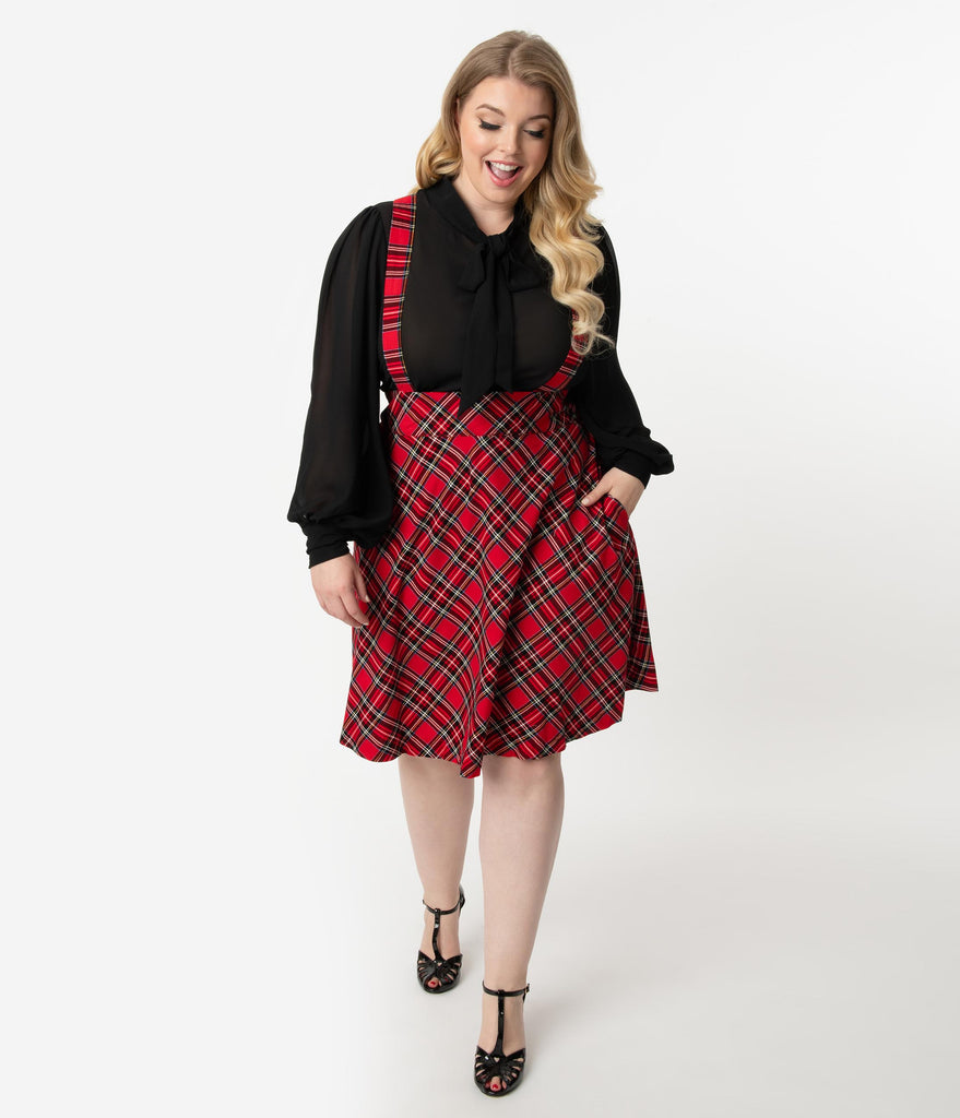 Unique Vintage Plus Size 1960s Style Red Plaid Suspender Ruth Flare Skirt