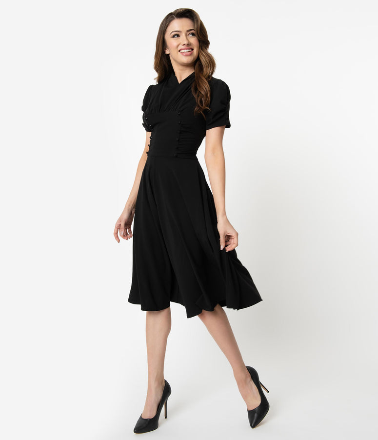 Unique Vintage 1940s Style Black Short Sleeve Camilla Midi Dress