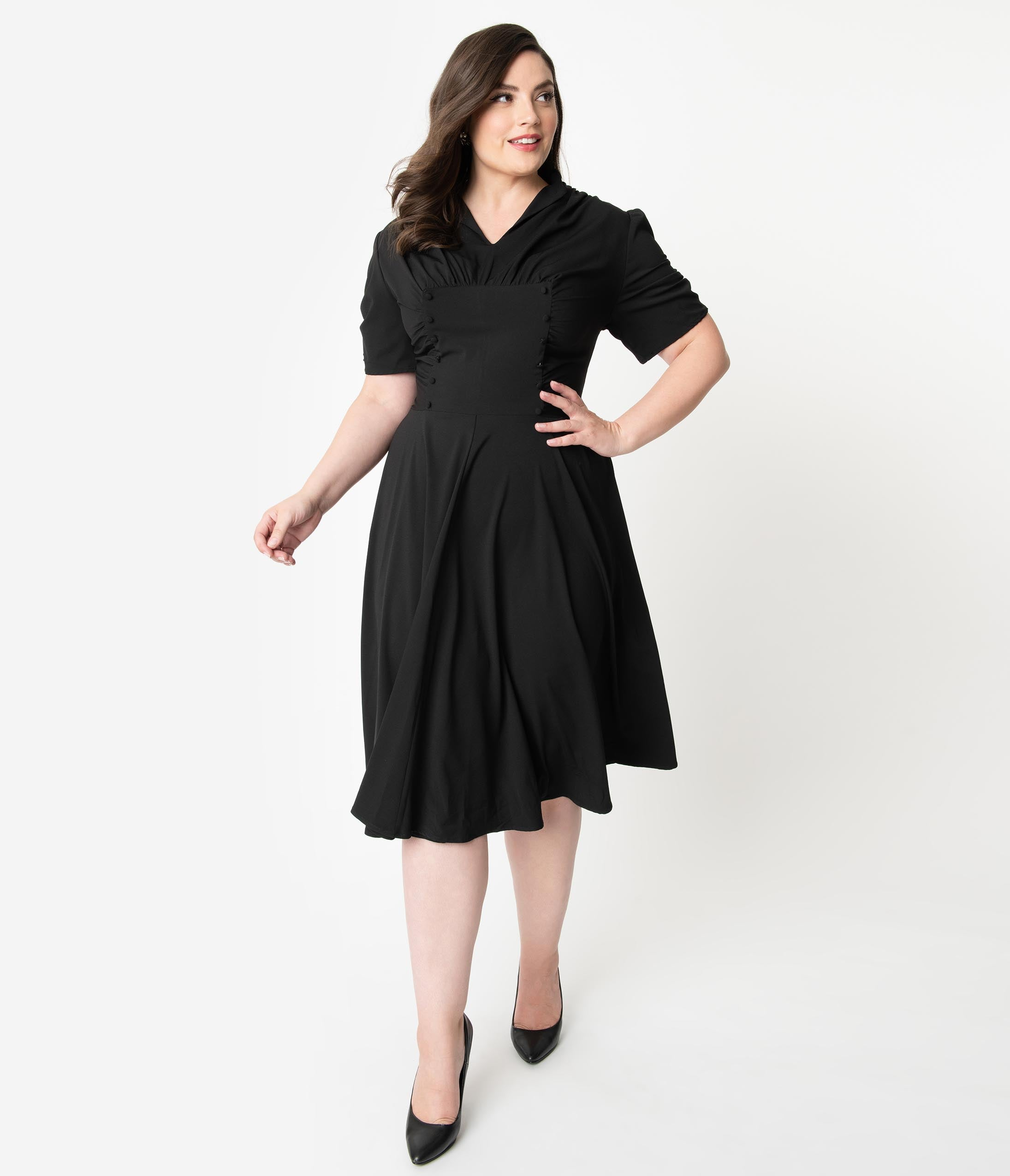 1940s Plus Size Dresses | Swing Dress, Tea Dress Unique Vintage Plus Size 1940S Style Black Short Sleeve Camilla Midi Dress $88.00 AT vintagedancer.com