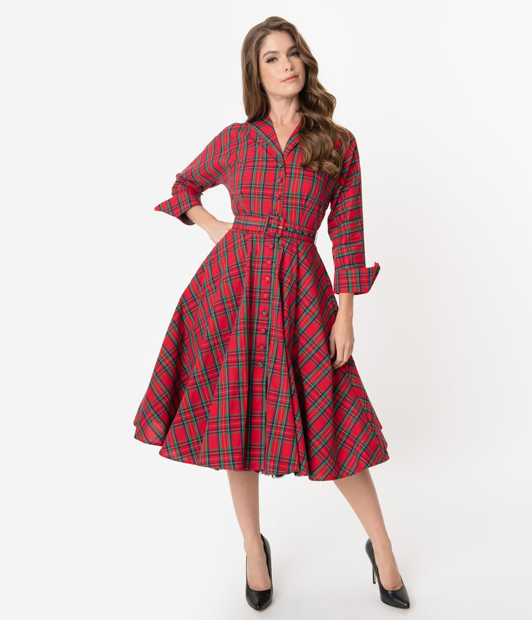 Unique Vintage 1950s Style Red Plaid Brooklyn Shirtdress
