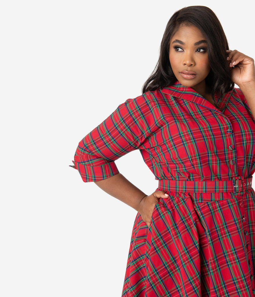 Unique Vintage Plus Size 1950s Style Red Plaid Brooklyn Shirtdress
