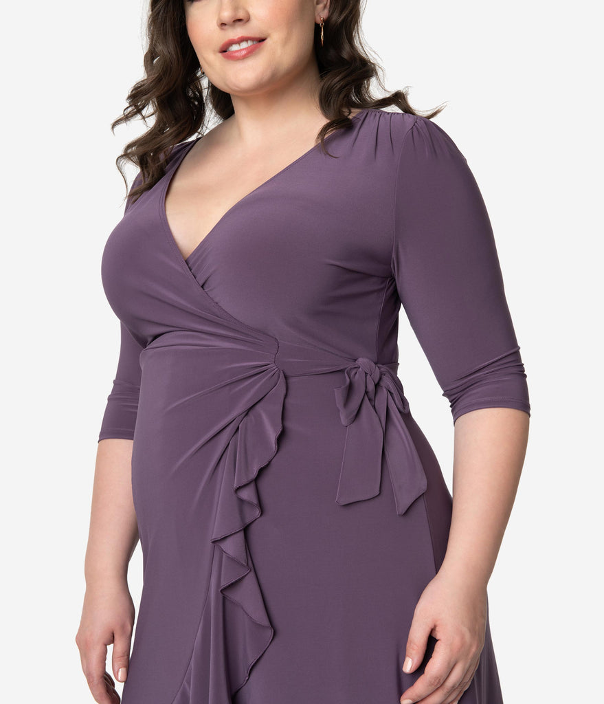 Plus Size Grape Purple Three-Quarter Sleeved Whimsy Wrap Dress