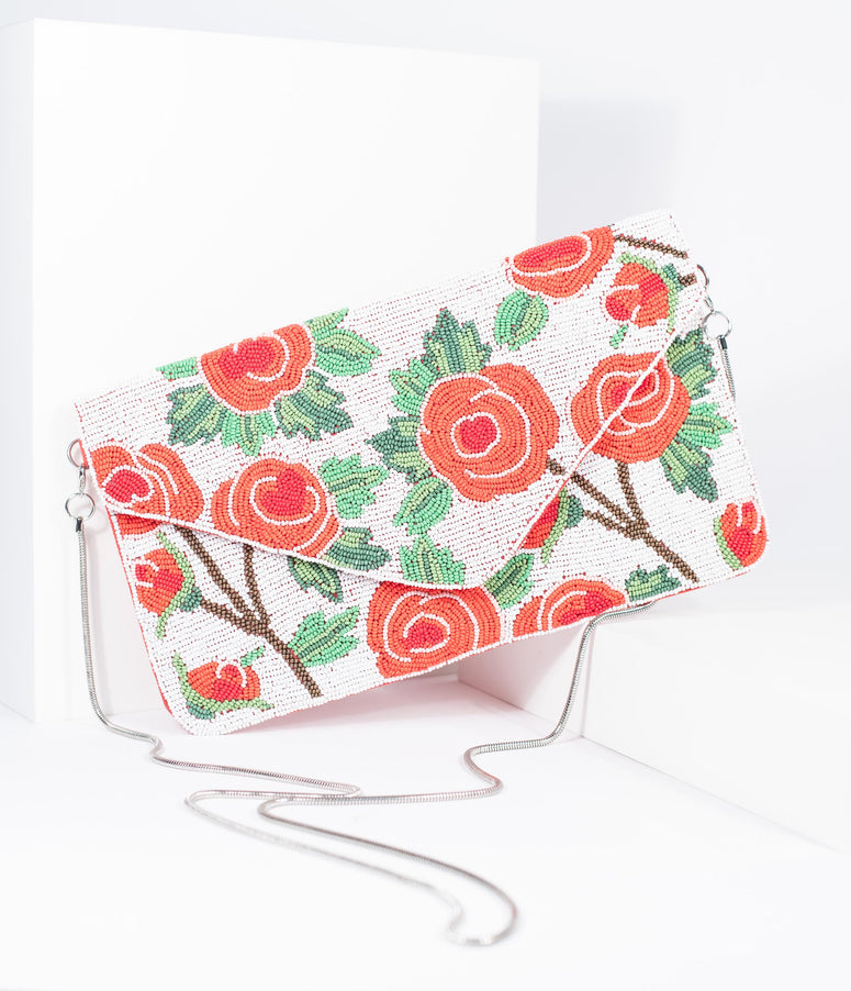 Coral Pink Floral Rose Bouquet Beaded Envelope Clutch