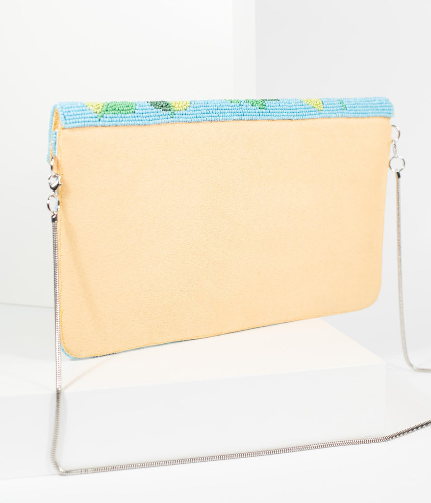 Blue & Yellow Banana Beaded Tropical Envelope Clutch