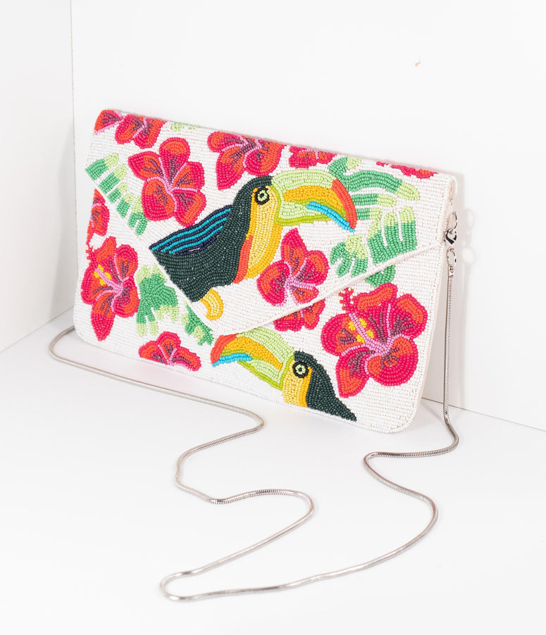 Ivory & Pink Floral Beaded Amazon Toucan Envelope Clutch