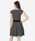 Retro Style Black & White Gingham Fit & Flare Sweater Dress