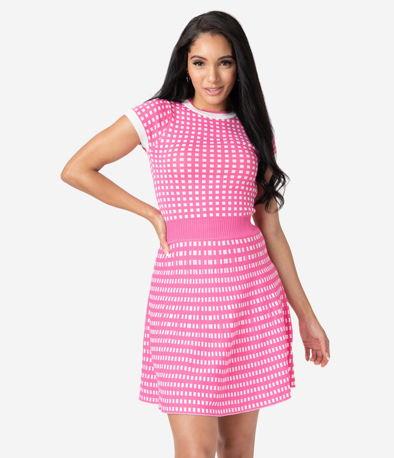 Retro Style Fuschia & White Gingham Fit & Flare Sweater Dress