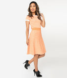 Retro Style Light Orange & White Gingham Fit & Flare Sweater Dress