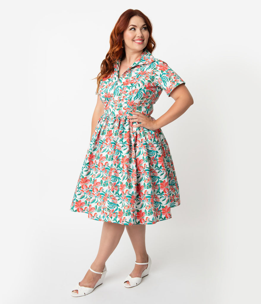 Bernie Dexter Plus Size 1950s White & Pink Hibiscus Floral Print Cotton Francis Swing Dress