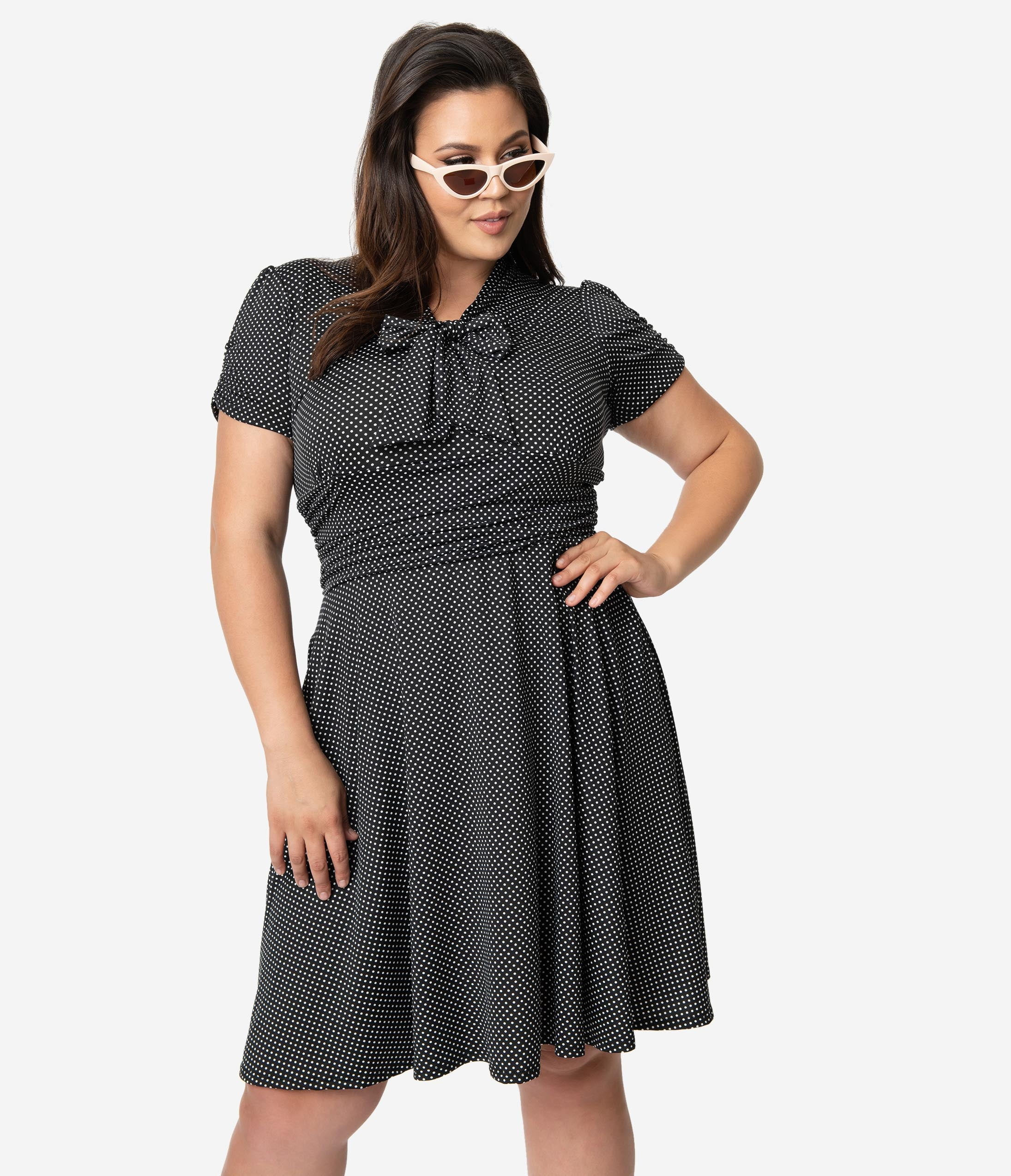 1940s Plus Size Fashion: Style Advice from 1940s to Today Folter Plus Size Black  White Pin Dot Print Short Sleeve Fit  Flare Dress $54.00 AT vintagedancer.com