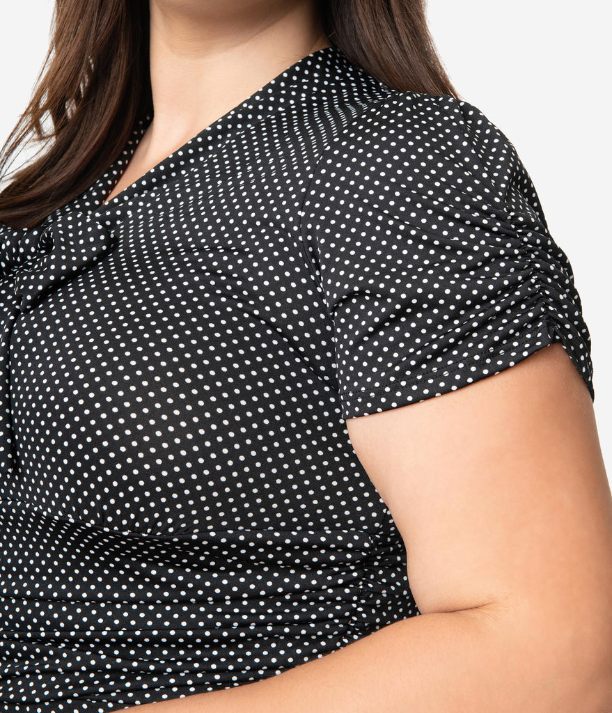 Folter Plus Size Black & White Pin Dot Print Short Sleeve Fit & Flare Dress