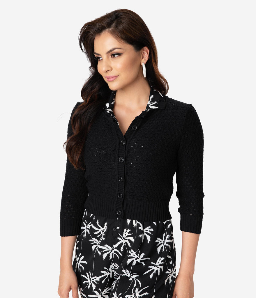 Retro Style Black Cotton Crochet Sleeved Button Cardigan