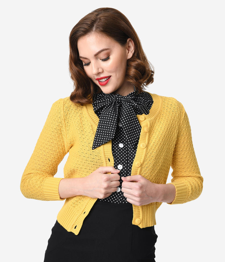 Retro Style Honey Yellow Cotton Crochet Sleeved Button Cardigan
