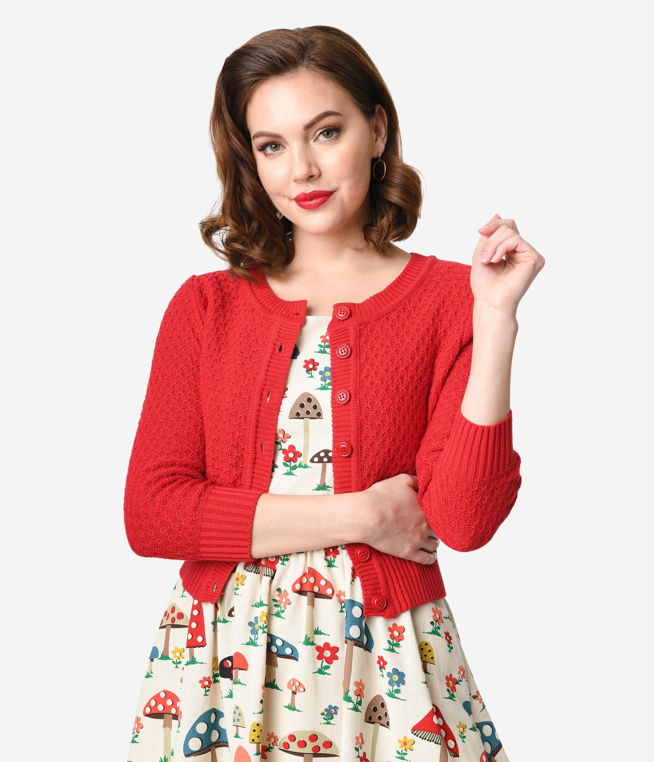 1950s Sweaters, 50s Cardigans, 50s Jumpers Retro Style Red Cotton Crochet Sleeved Button Cardigan $28.00 AT vintagedancer.com