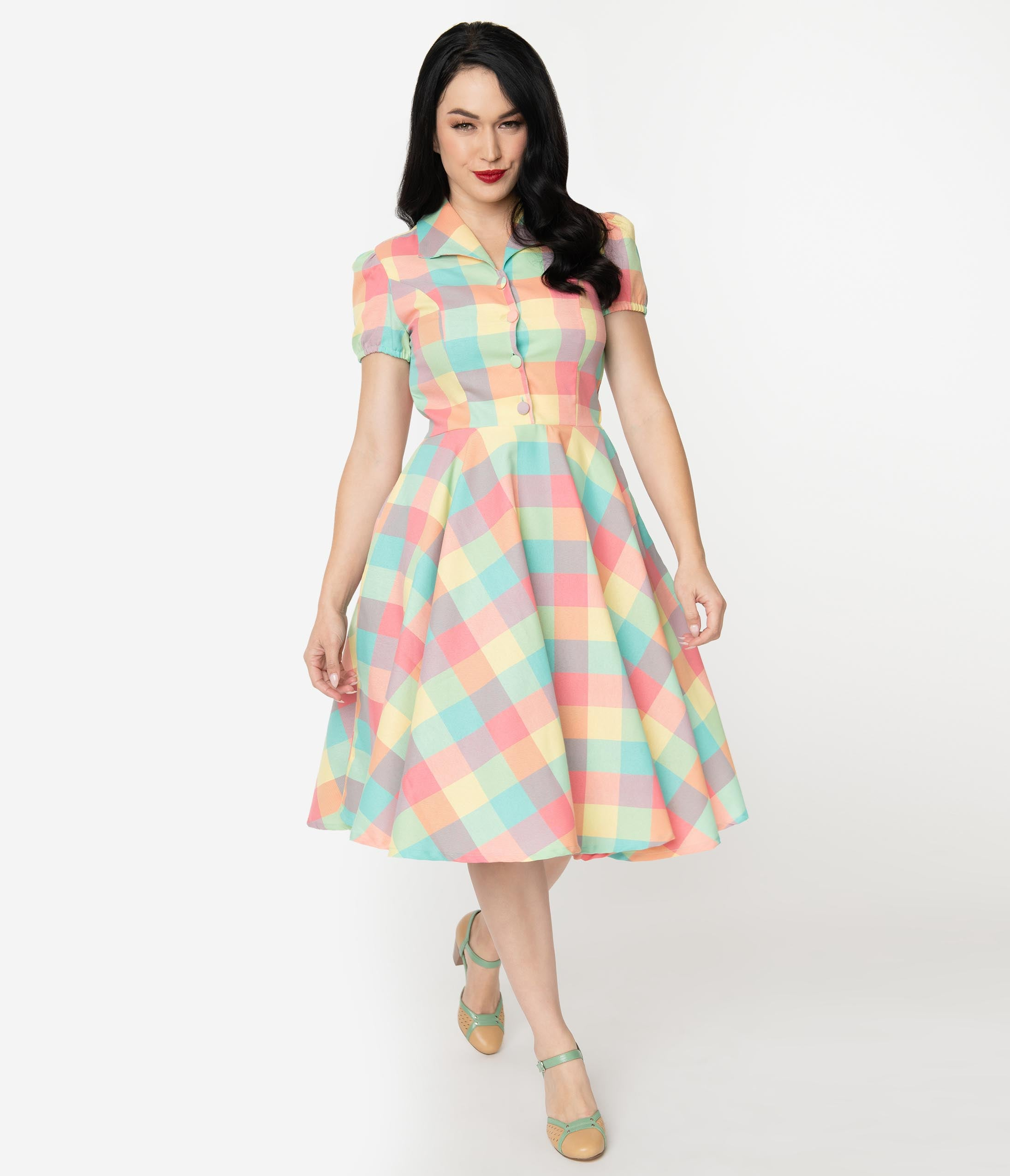 1950s Dresses, 50s Dresses | 1950s Style Dresses 1950S Style Pastel Summer Plaid Mona Swing Dress $78.00 AT vintagedancer.com