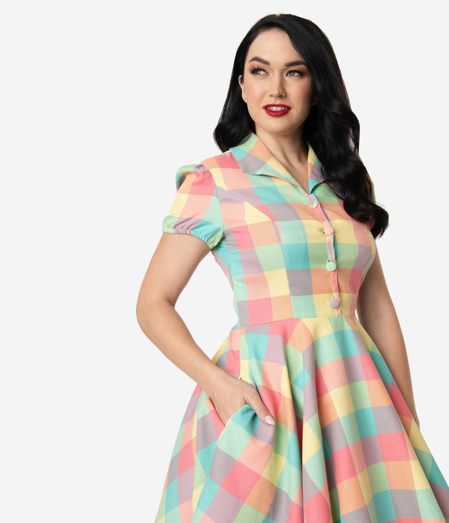 1950s Style Pastel Summer Plaid Mona Swing Dress