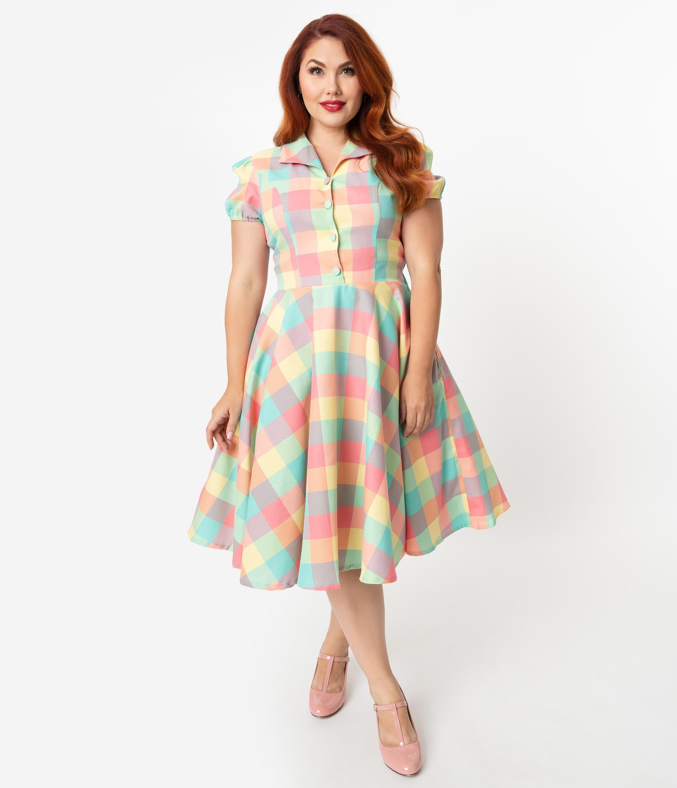 1950s Dresses, 50s Dresses | 1950s Style Dresses Plus Size 1950S Style Pastel Summer Plaid Mona Swing Dress $78.00 AT vintagedancer.com