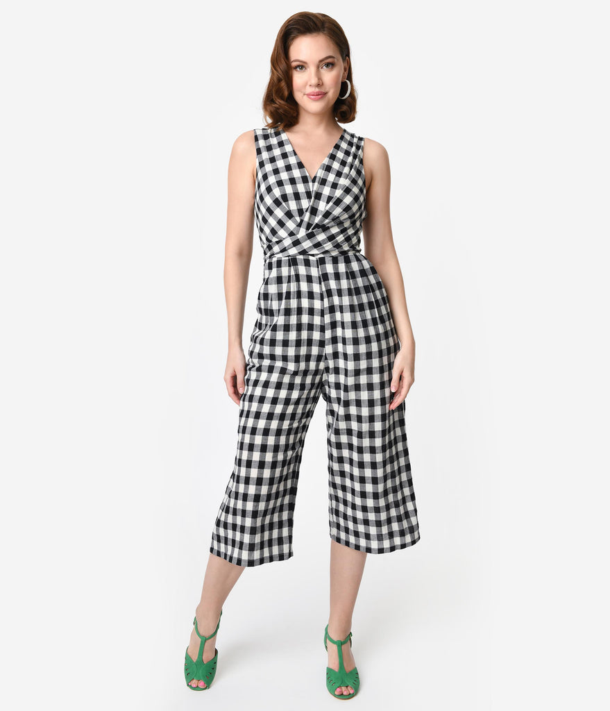 Retro Style Black & White Gingham Cotton Culotte Jumpsuit