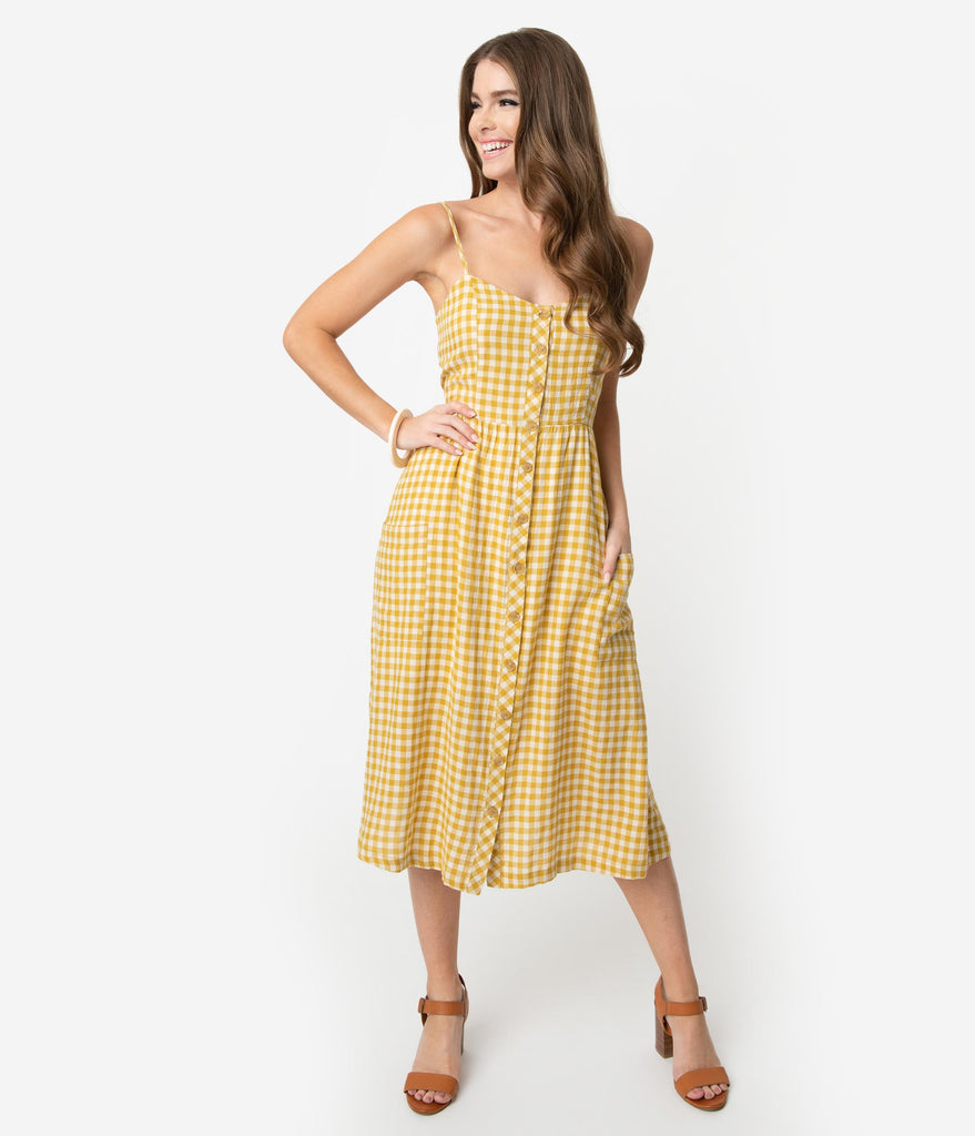 Retro Style Mustard & White Gingham Cotton Button Up Midi Dress
