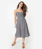 Retro Style Navy & White Gingham Cotton Button Up Midi Dress