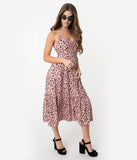 Retro Style Blush Pink Leopard Print Sleeveless Midi Dress