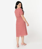 Vintage Style Mauve Swiss Dot Mesh Short Sleeve Swing Dress