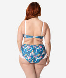 Collectif x Playful Promises Blue & Pink Toucan Print Ruffle Swim Bottoms