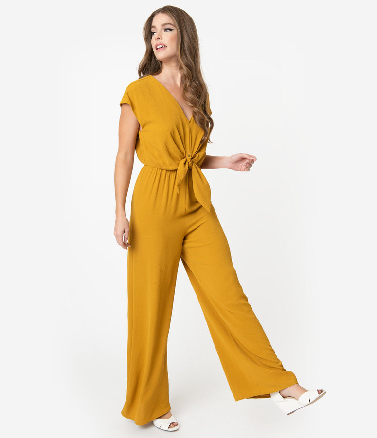Vintage Style Mustard Yellow Front Tie Cap Sleeve Jumpsuit
