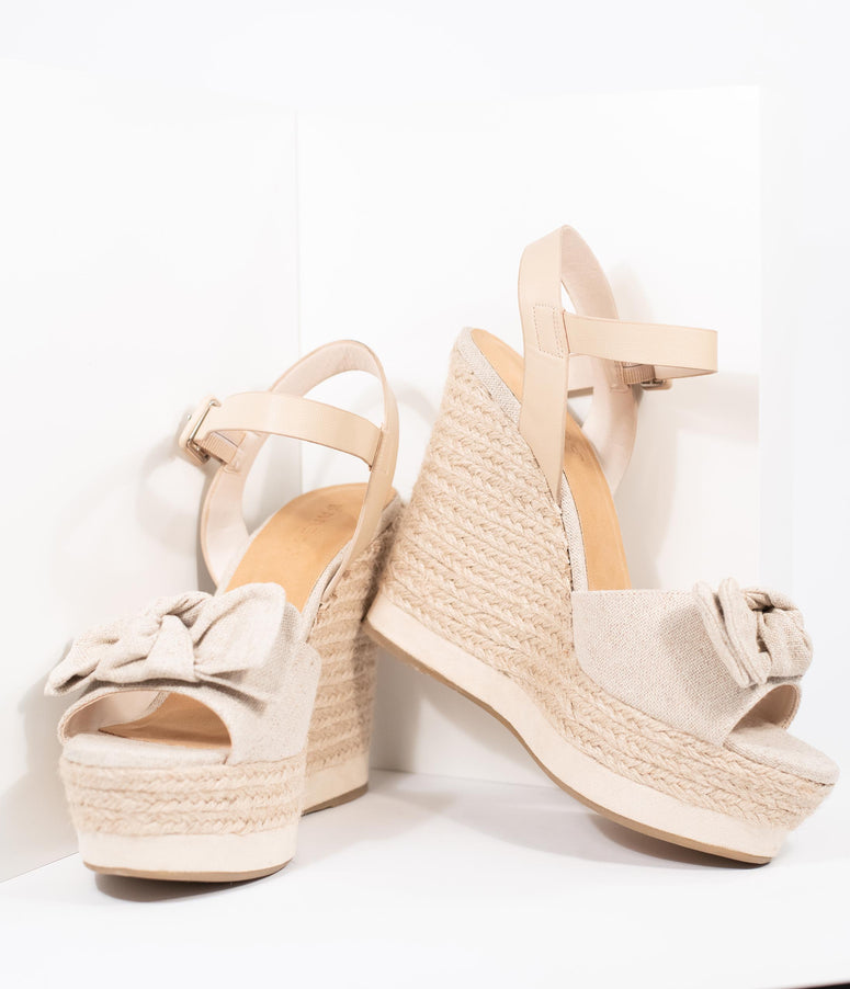 Natural Burlap Bow & Braided Espadrille Platform Wedge Sandals
