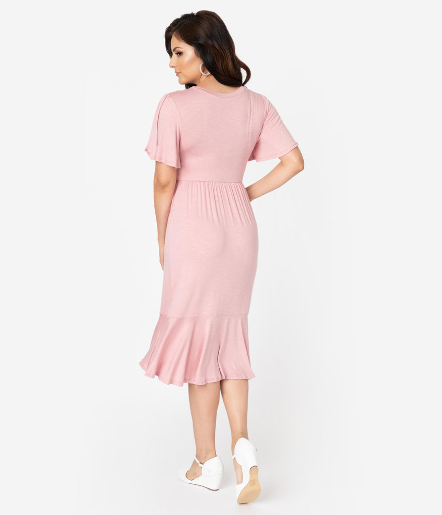 Retro Style Blush Pink Butterfly Sleeve Midi Dress