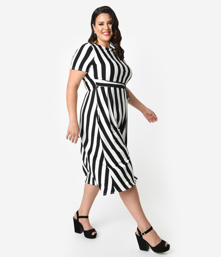 657b958a9c5e Plus Size Black & Ivory Stripe Knit Short Sleeve Midi Dress – Unique Vintage