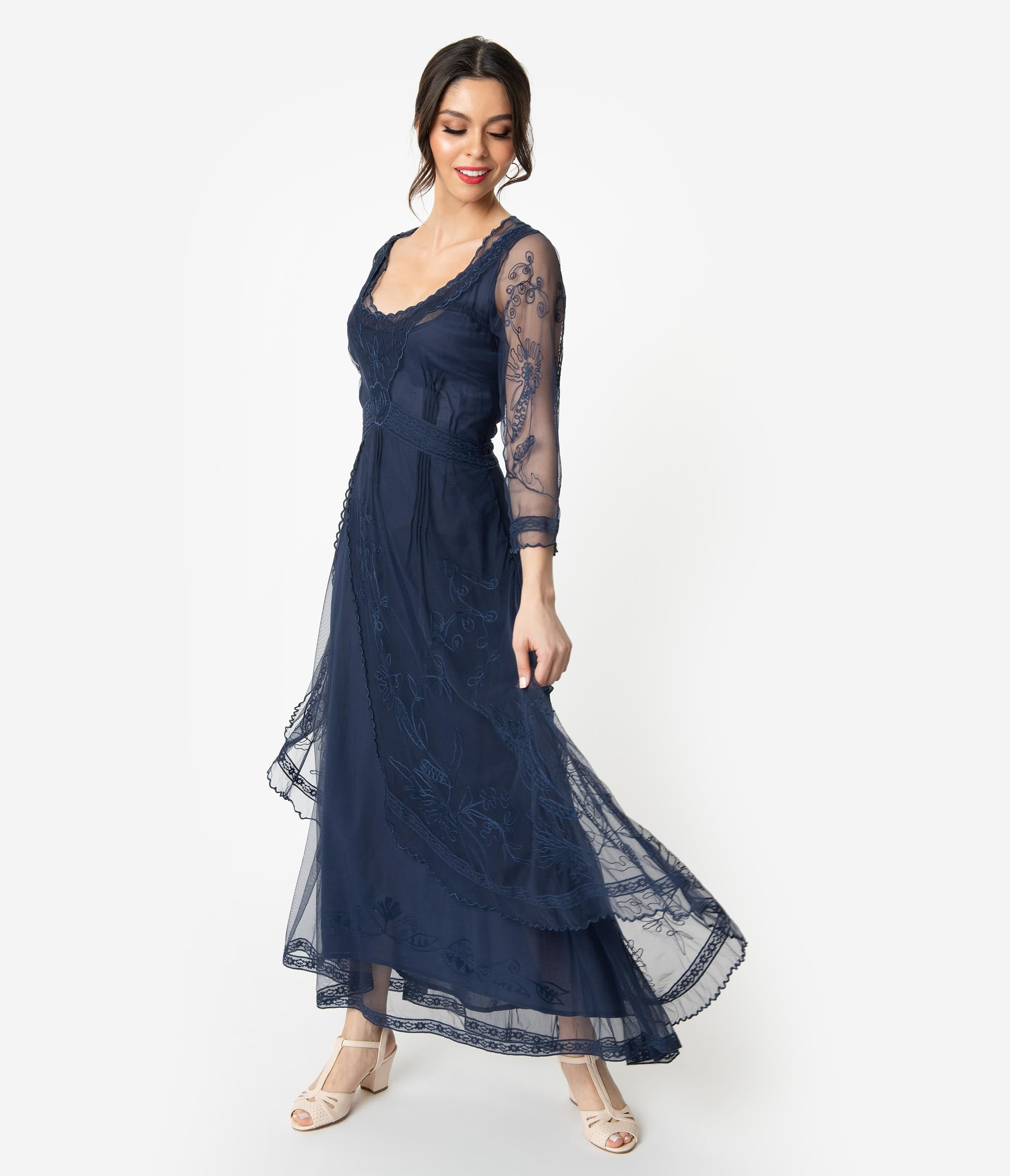 Edwardian Ladies Clothing – 1900, 1910s, Titanic Era Royal Blue Embroidered Tulle Downton Abbey Edwardian Tea Party Flapper Dress $258.00 AT vintagedancer.com